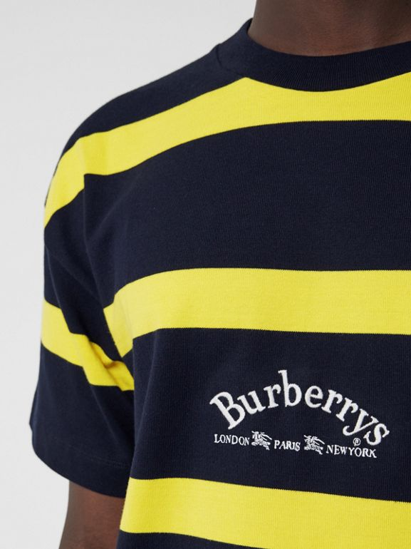 Embroidered Archive Logo Striped Cotton T-shirt in Navy - Men | Burberry Hong Kong - cell image 1
