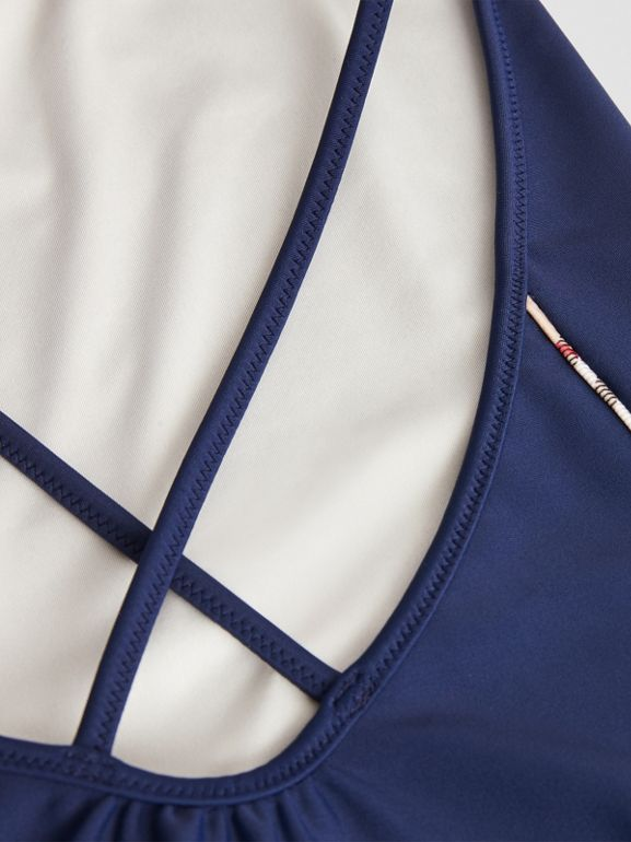 Check Detail One-piece Swimsuit in Navy | Burberry - cell image 1