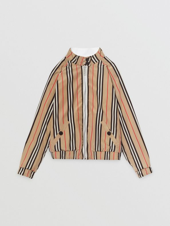 Reversible Icon Stripe Cotton Harrington Jacket in Optic White