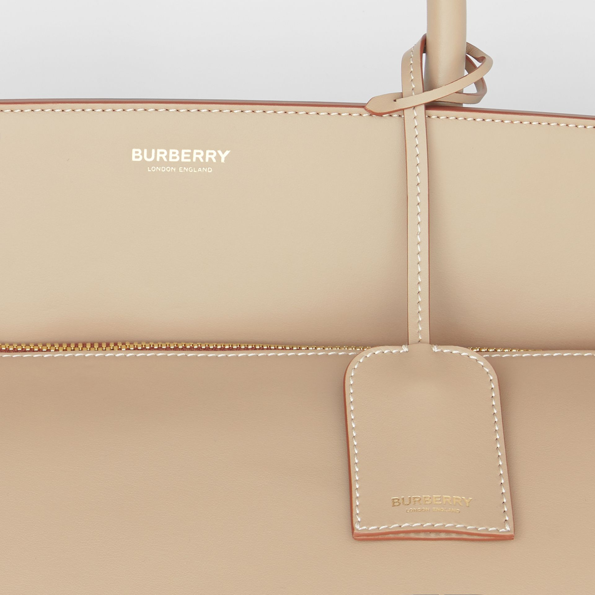 Extra Large Leather Society Top Handle Bag in Honey - Men | Burberry - gallery image 6