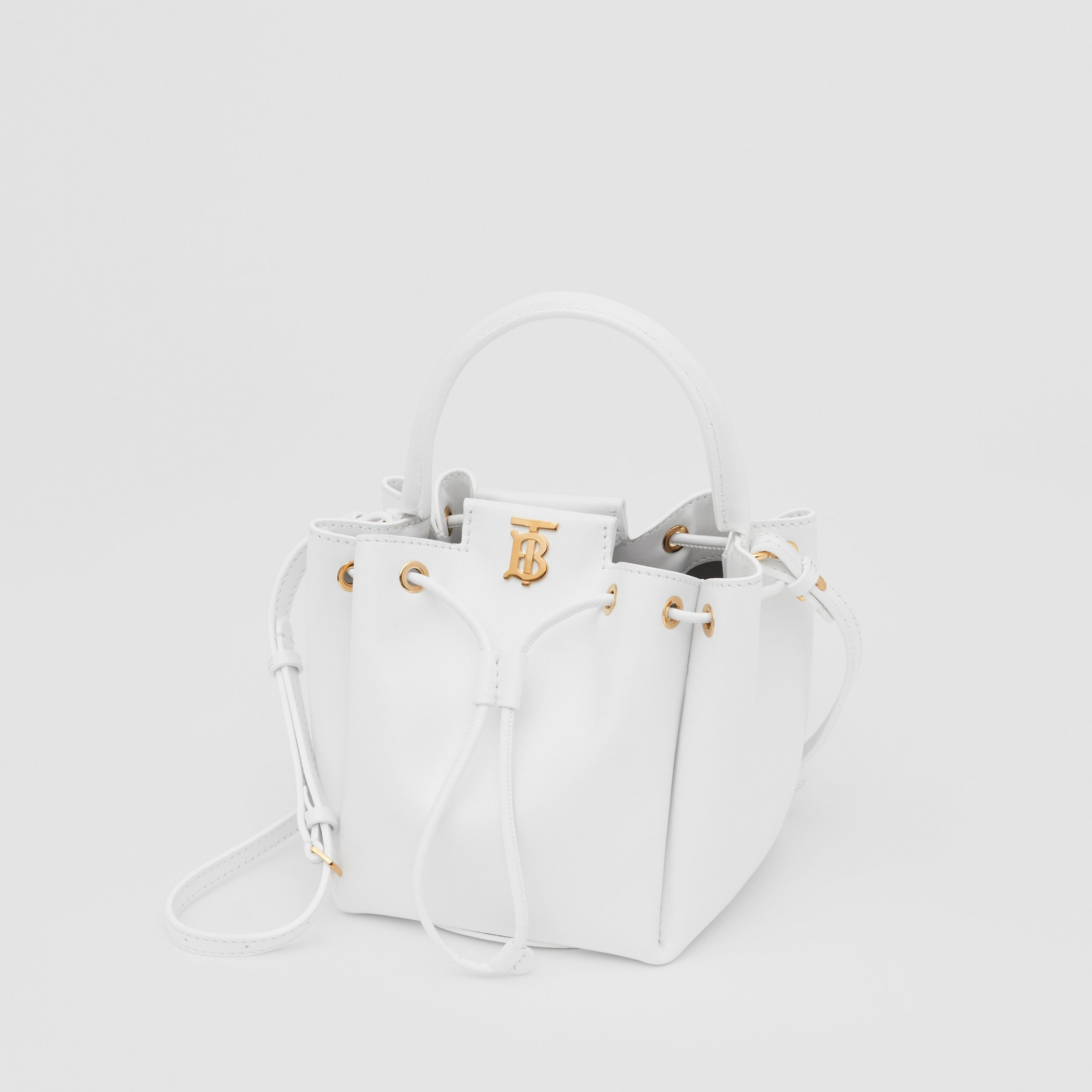 Monogram Motif Leather Bucket Bag in Optic White - Women | Burberry - 3