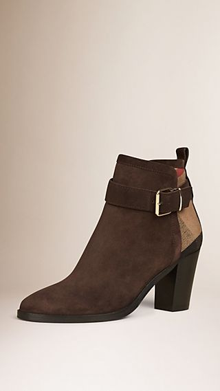 Belted Check and Suede Ankle Boots