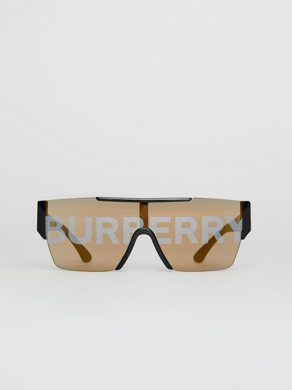 Logo Lens D-frame Sunglasses in Black