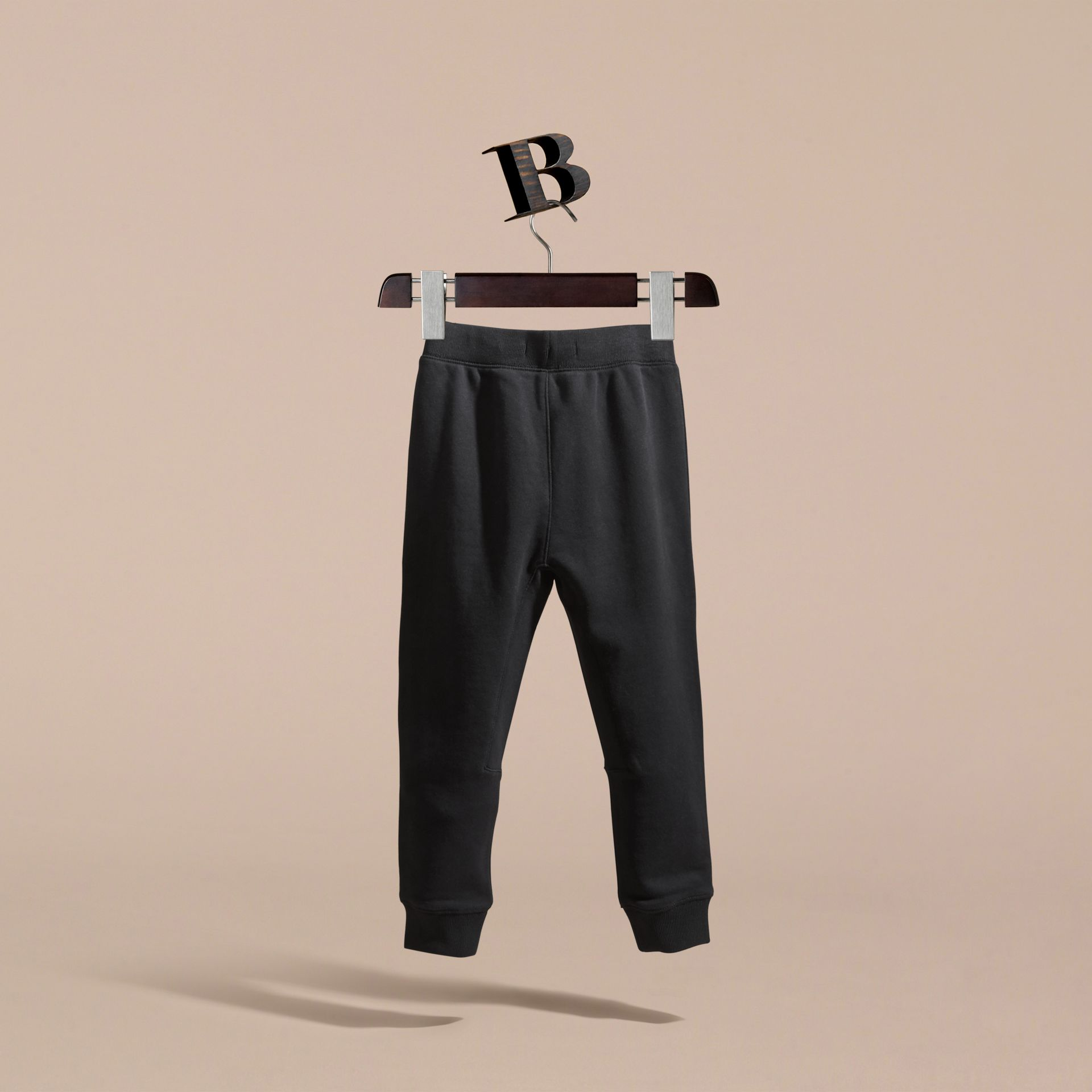 Drawcord Cotton Sweatpants in Black - Boy | Burberry - gallery image 4