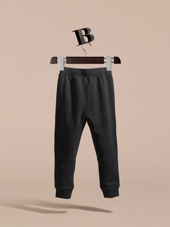 Drawcord Cotton Sweatpants in Black - Boy | Burberry - cell image 3