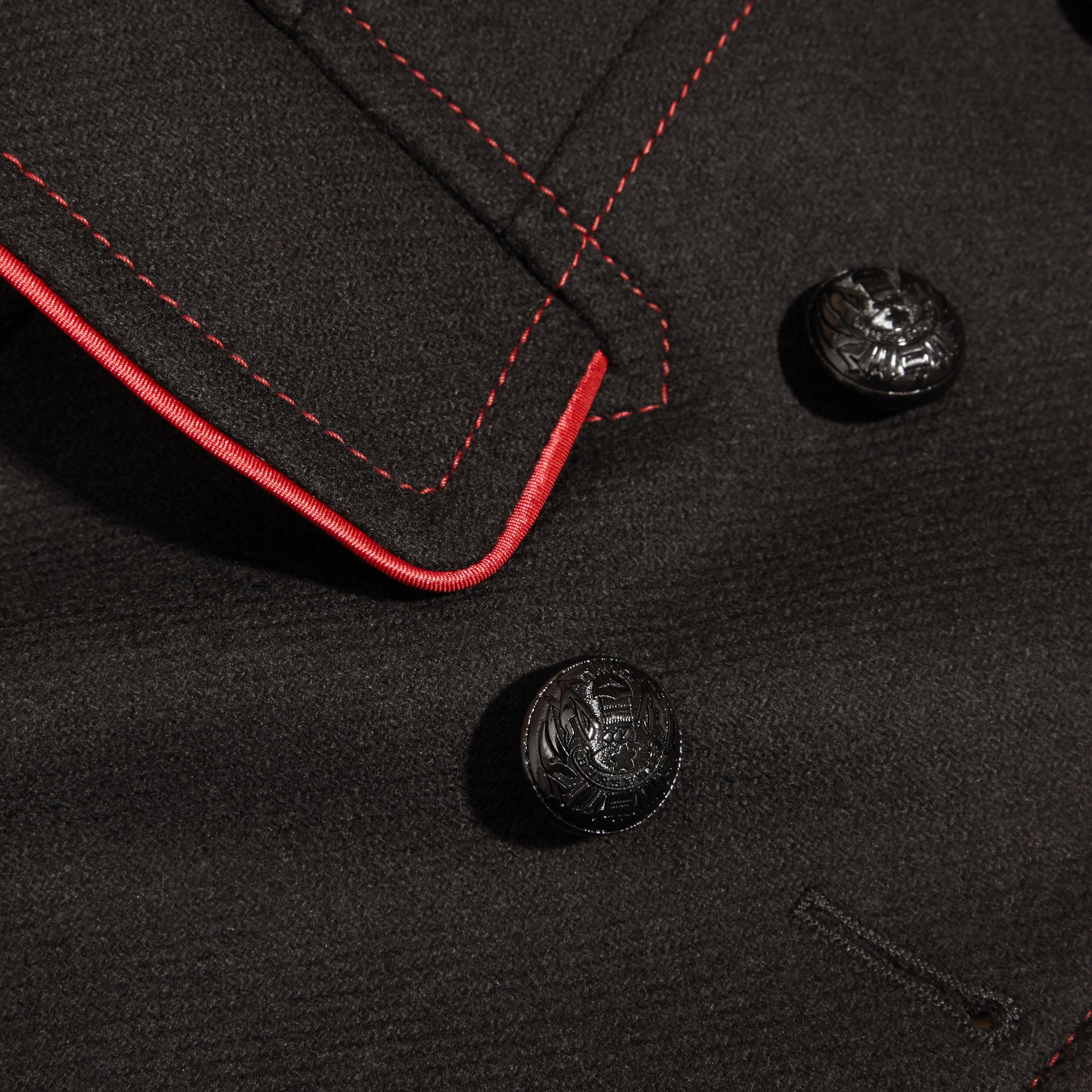 Black Technical Wool Cashmere Military Coat - gallery image 2