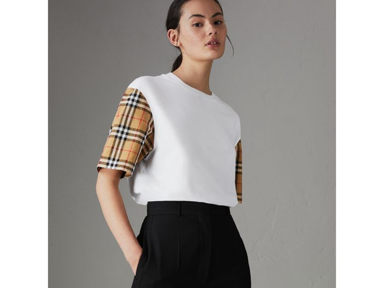Vintage Check Sleeve Cotton T-shirt in White - Women | Burberry United Kingdom - cell image 4