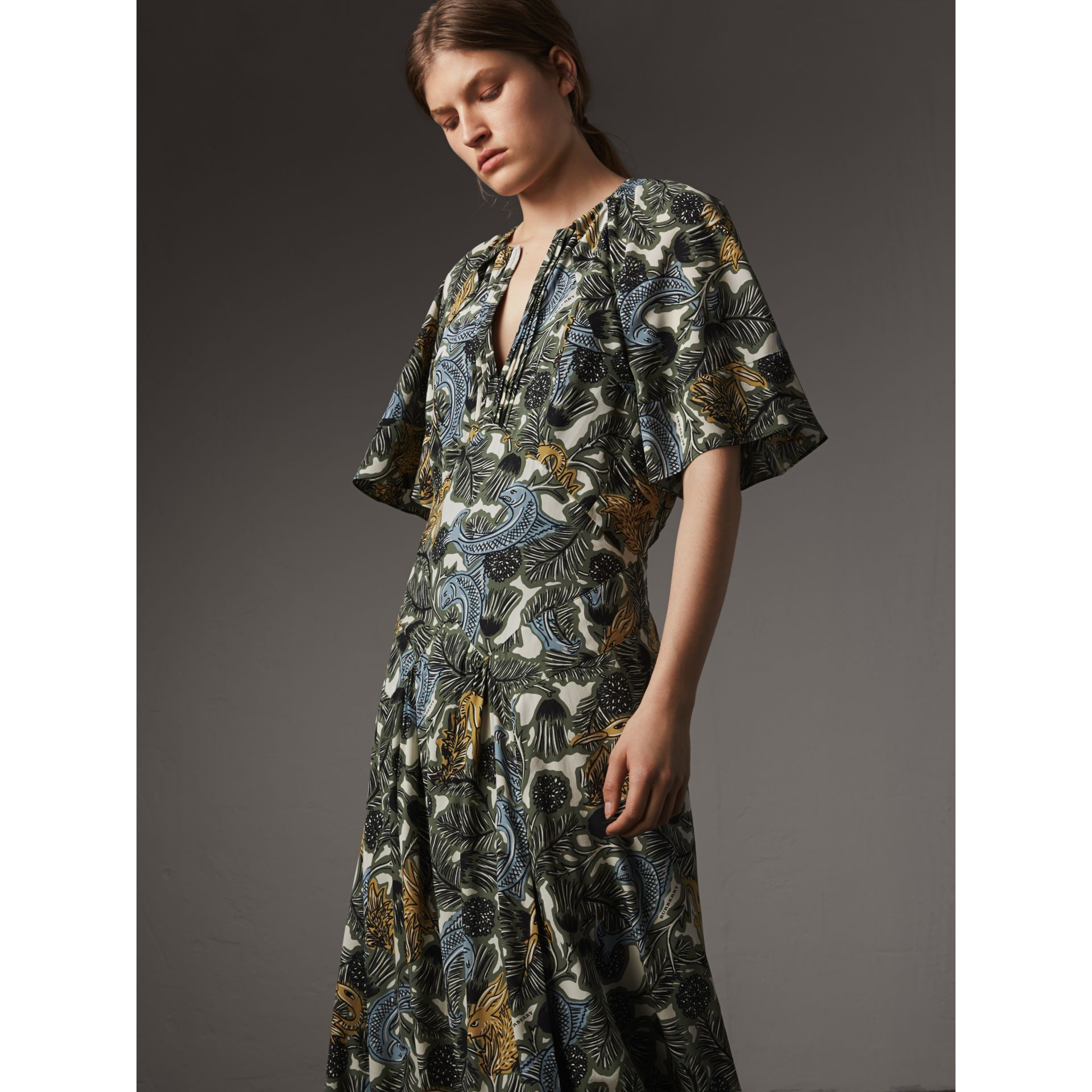Beasts Print Deep V-neck Silk Longline Dress in Clay Green - Women | Burberry - gallery image 6