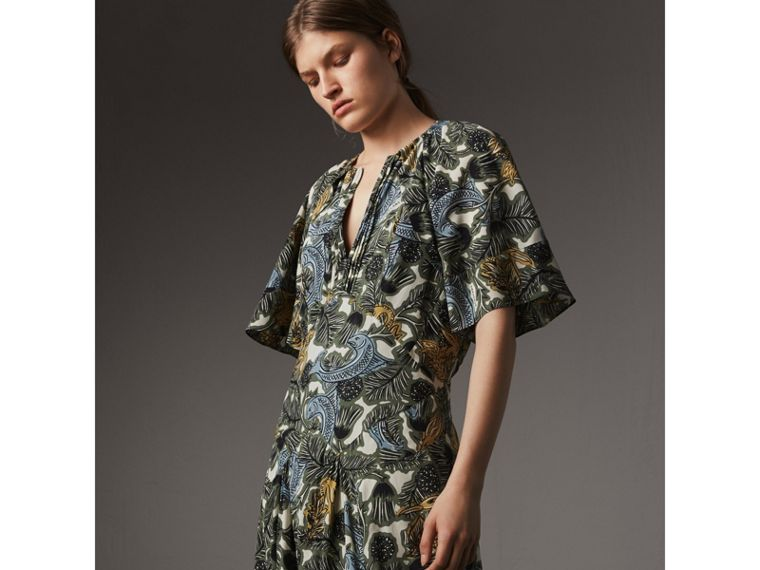 Beasts Print Deep V-neck Silk Longline Dress in Clay Green - Women | Burberry Australia - cell image 4