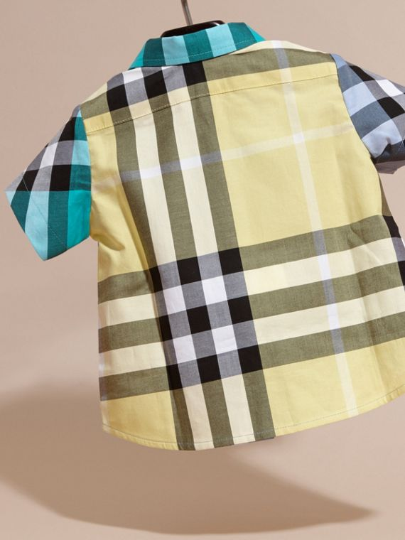 Short-sleeved Contrast Check Cotton Shirt Cyan Green - cell image 3
