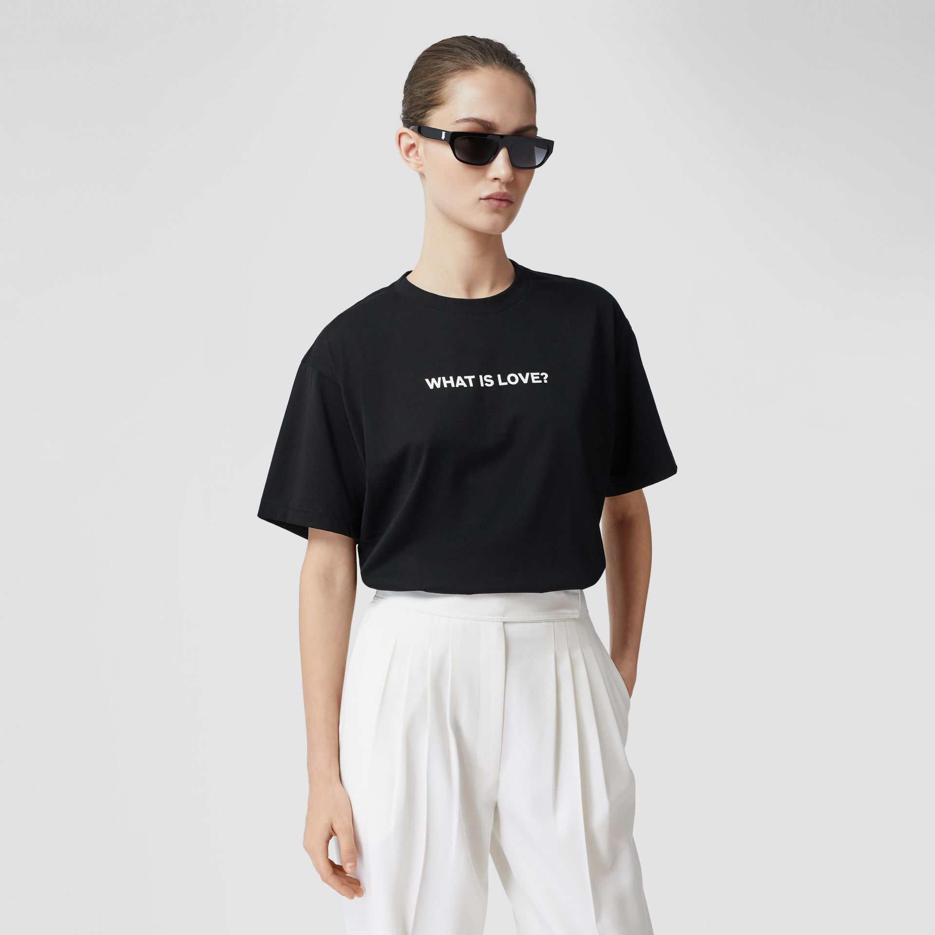 Love Slogan Cotton Oversized T-shirt in Black - Women | Burberry United Kingdom - gallery image 5