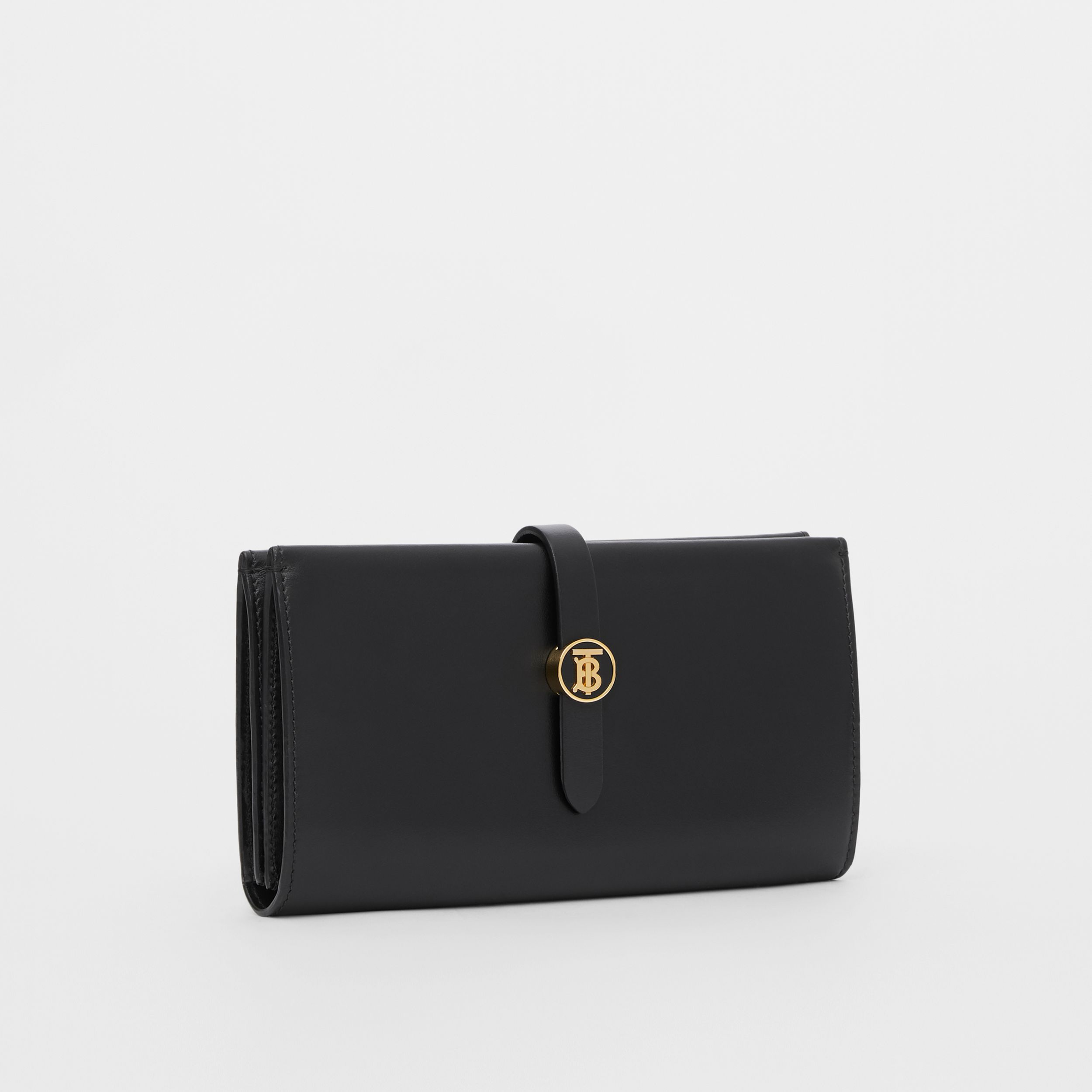 Monogram Motif Leather Folding Wallet in Black - Women | Burberry - 4