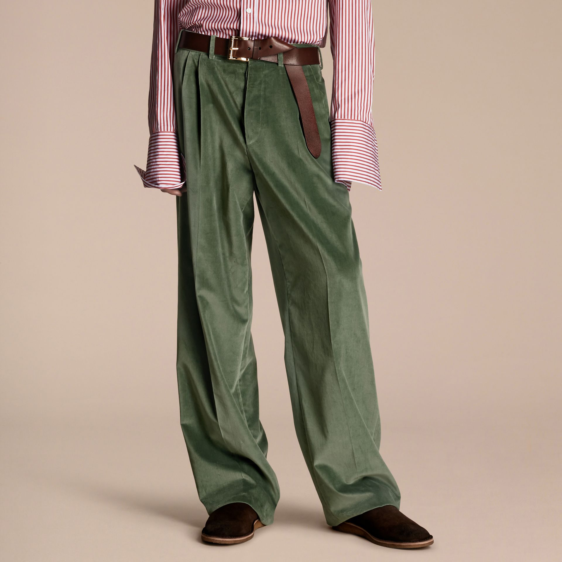 Pale eucalyptus Wide-leg Salt-washed Velvet Trousers Pale Eucalyptus - gallery image 1