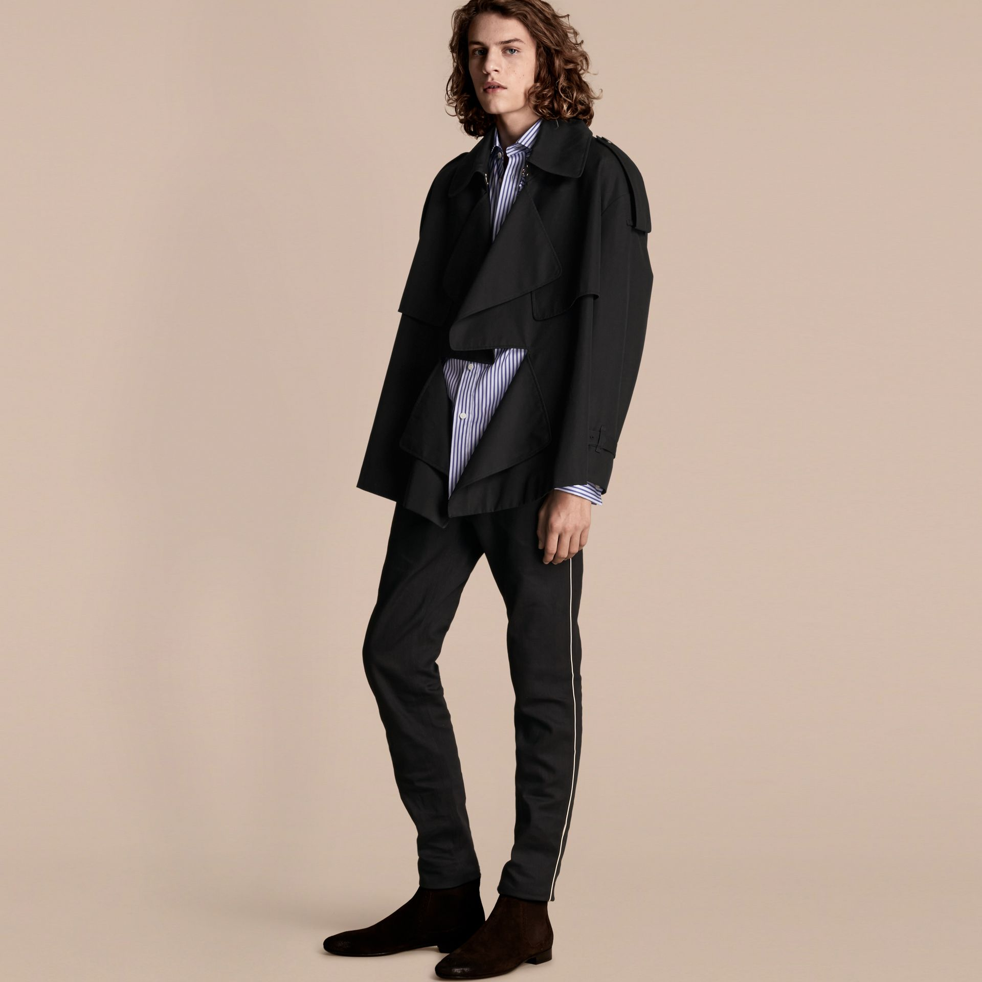 Black Cotton Gabardine Deconstructed Trench Jacket - gallery image 1