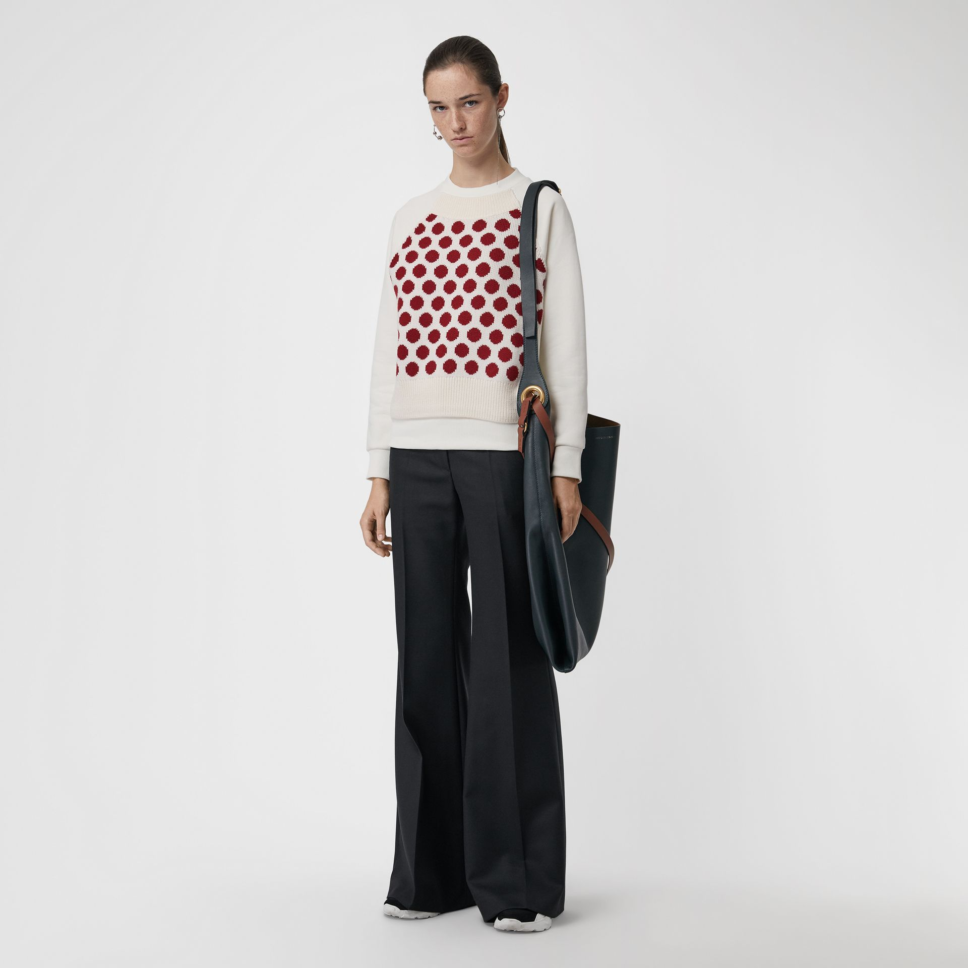 Spot Print Merino Wool and Jersey Sweater in White - Women | Burberry - gallery image 0