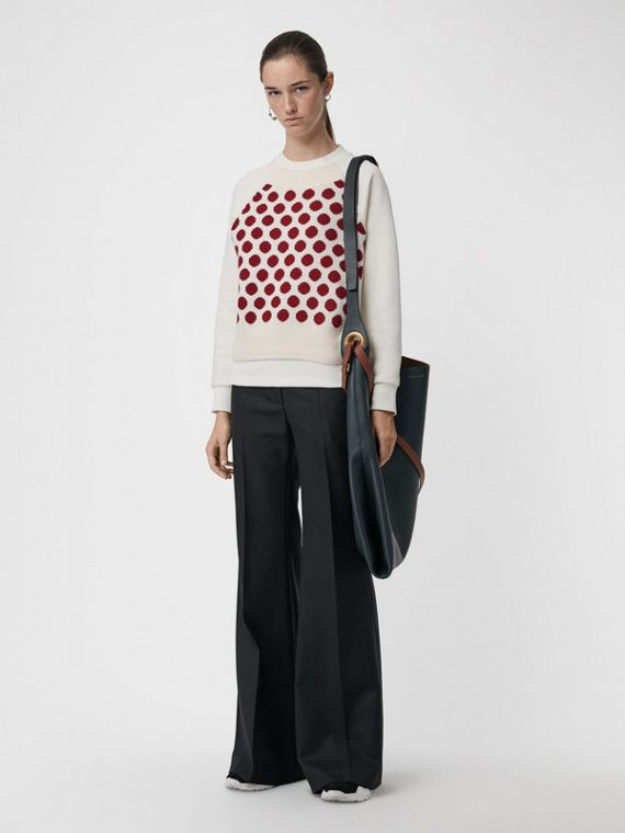 Spot Print Merino Wool and Jersey Sweater in White
