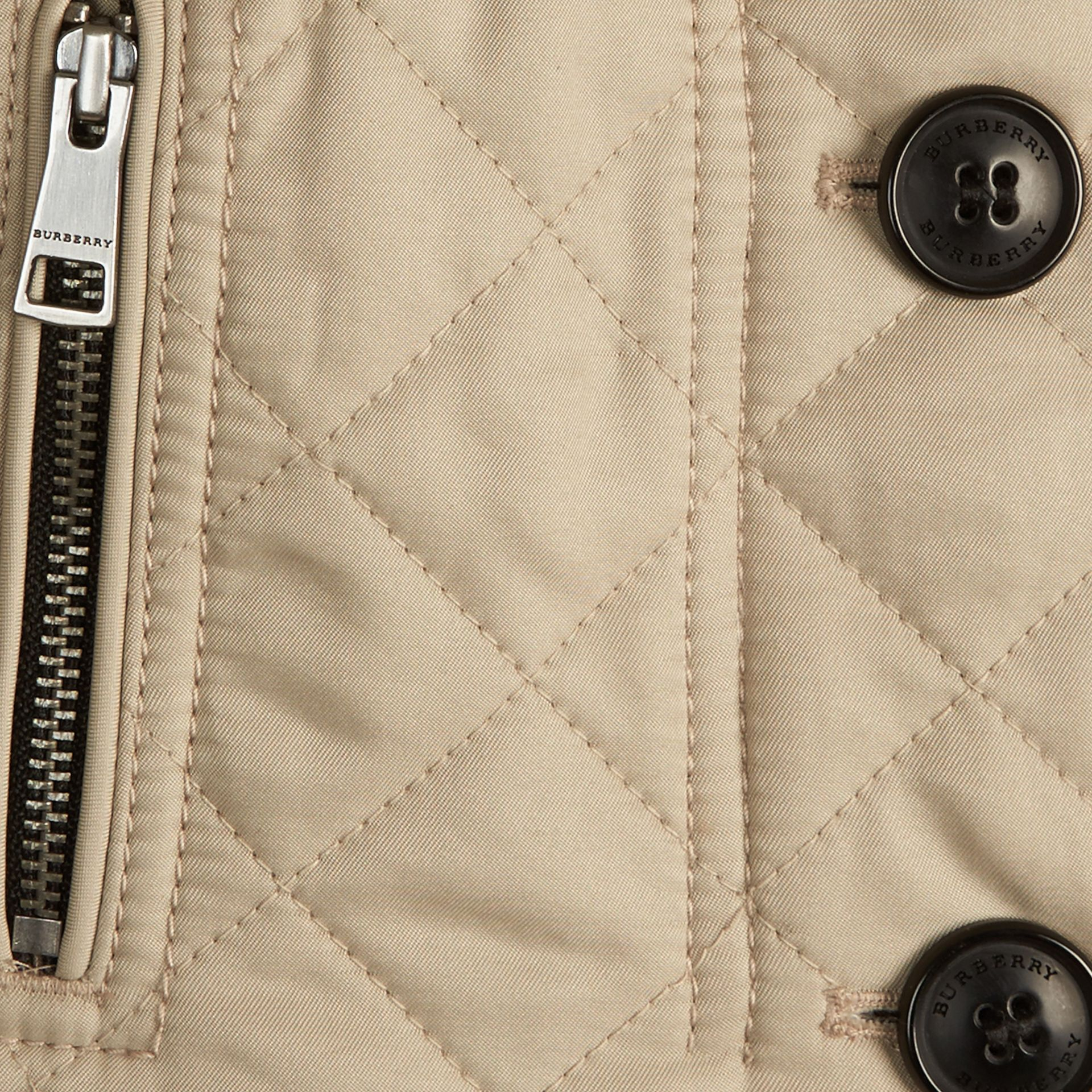 Collarless Diamond Quilted Jacket in Mink - Girl | Burberry - gallery image 2