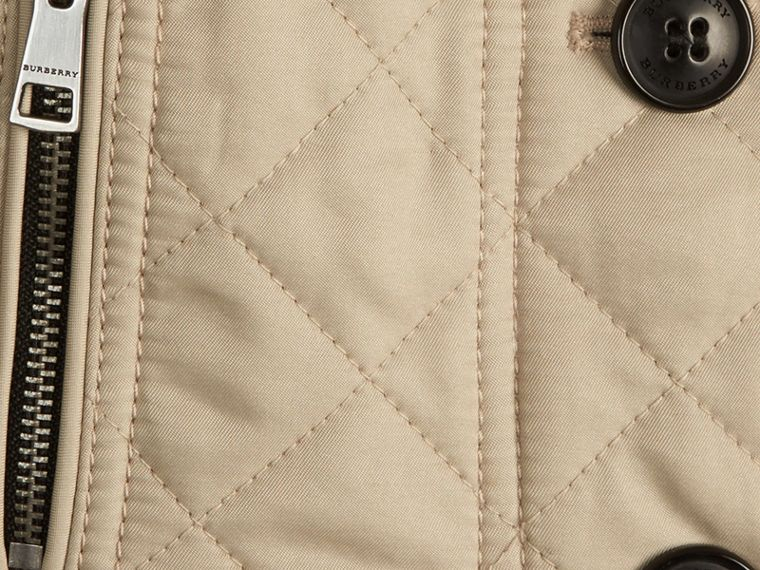Collarless Diamond Quilted Jacket Mink - cell image 1