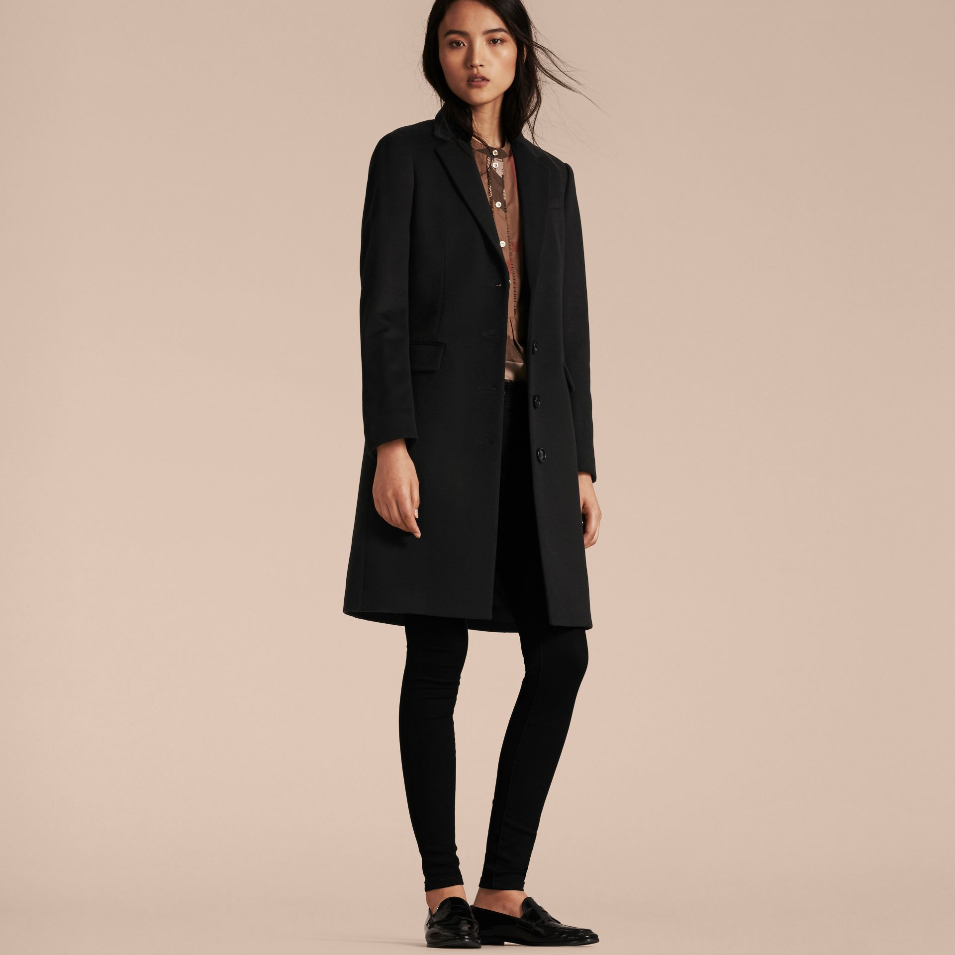 Black Tailored Wool Cashmere Coat Black - gallery image 6