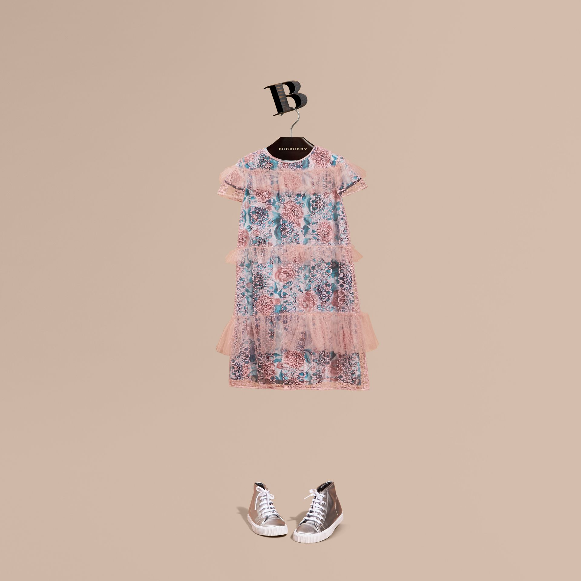 Pale rose Short-sleeved Embroidered Tulle and Silk Dress - gallery image 1