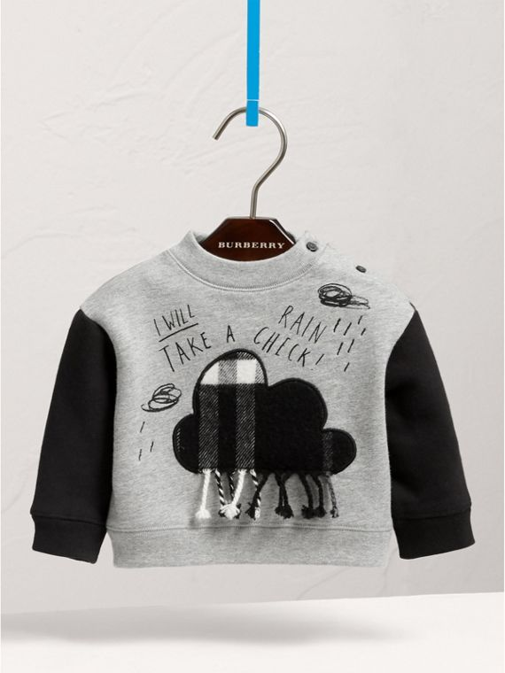Weather Motif Cotton Sweatshirt in Black