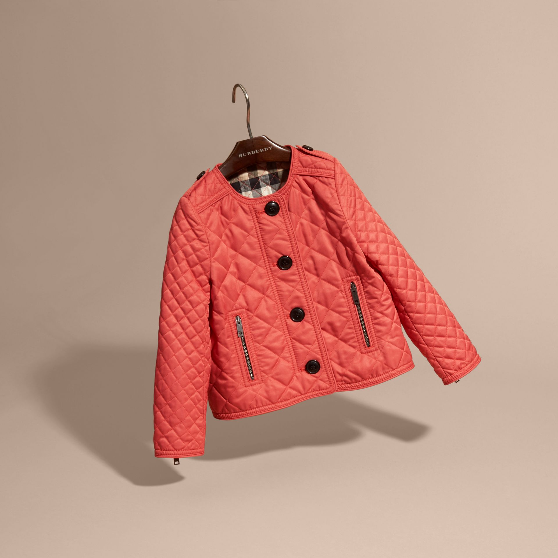 Coral red Collarless Diamond Quilted Jacket Coral Red - gallery image 3
