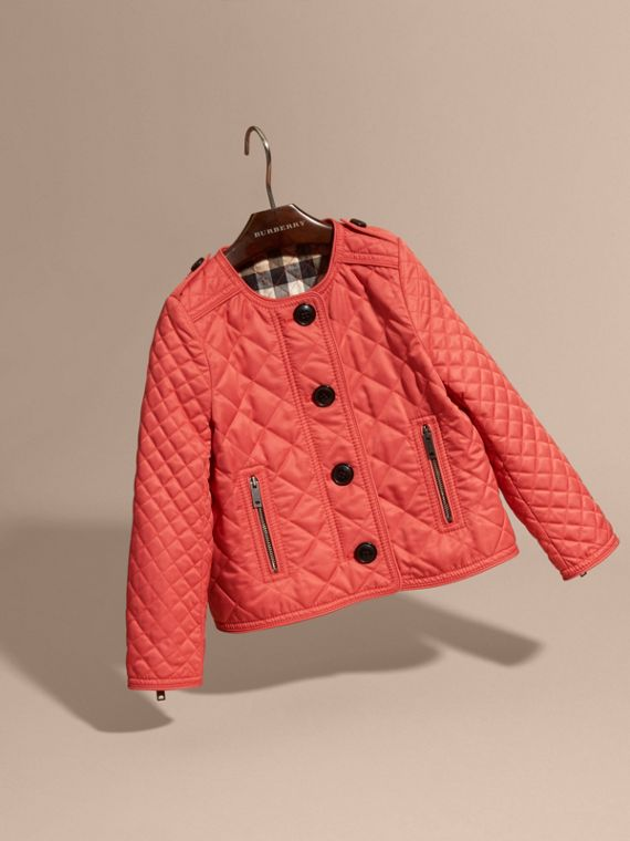 Collarless Diamond Quilted Jacket Coral Red - cell image 2