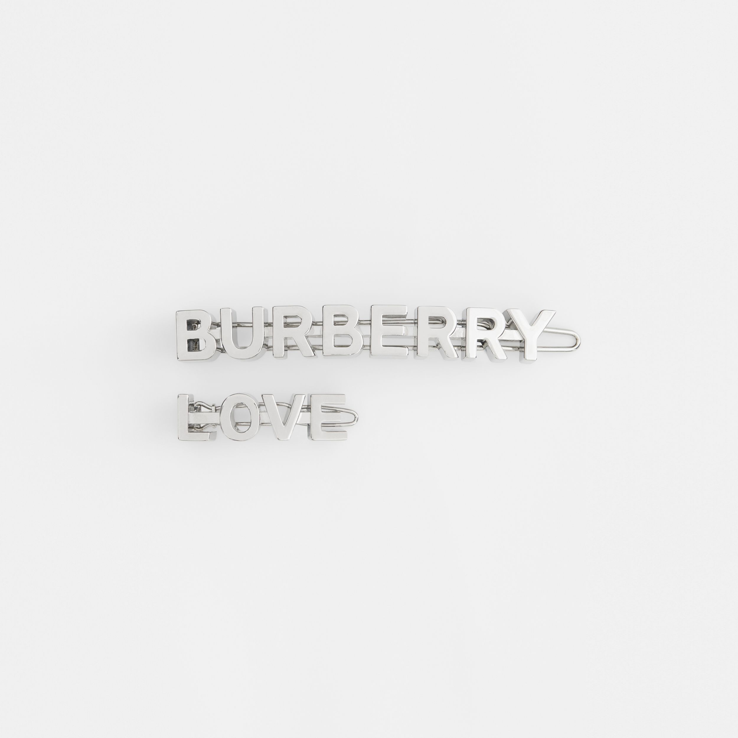 Palladium-plated Logo and Love Hair Clips - Women | Burberry - 1