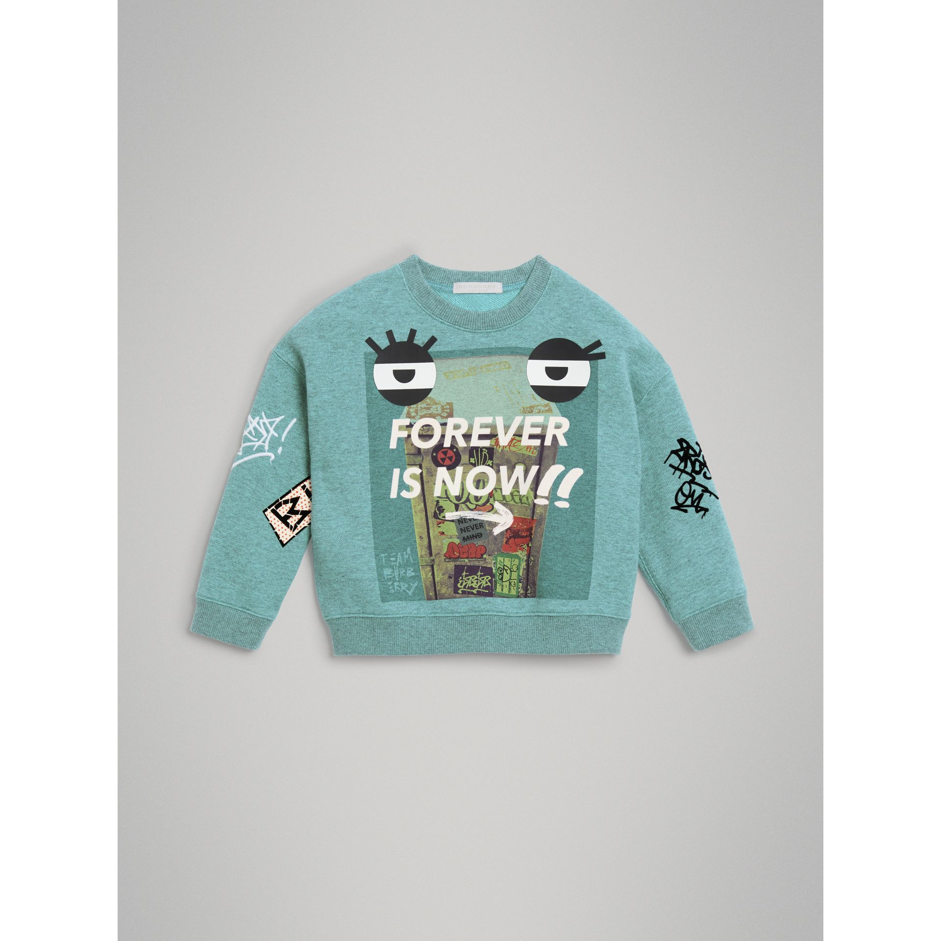 Forever is Now Print Cotton Sweatshirt in Turquoise | Burberry United States - gallery image 0