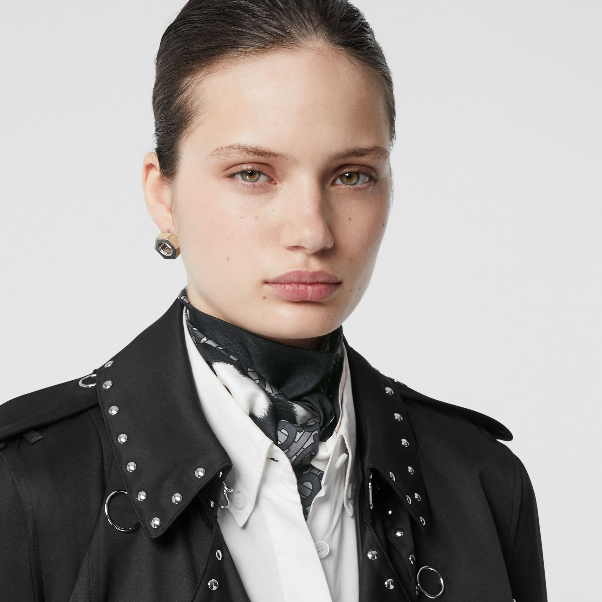 Monogram and Cow Print Silk Skinny Scarf in Black - Women | Burberry - gallery image 2