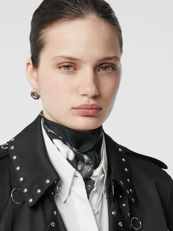 Monogram and Cow Print Silk Skinny Scarf in Black - Women | Burberry - cell image 2