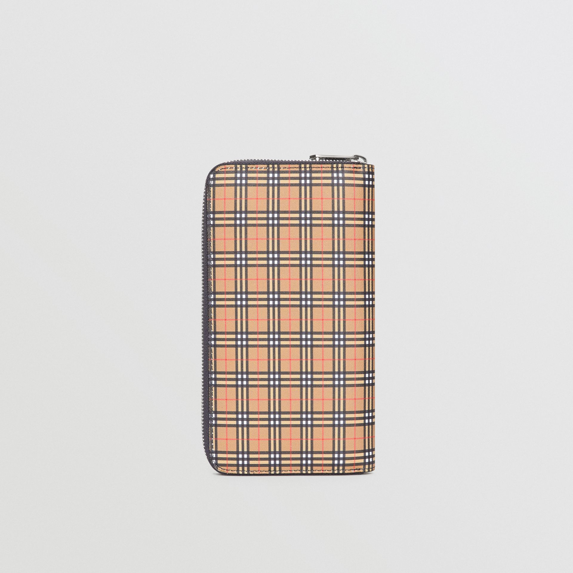 Small Scale Check and Leather Ziparound Wallet in Antique Yellow/dark Grey - Men | Burberry United Kingdom - gallery image 2