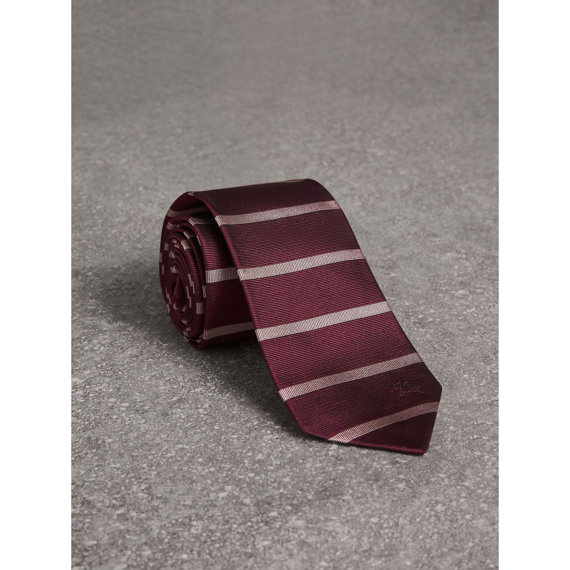 Modern Cut Striped Silk Tie in Garnet Pink - Men | Burberry Australia - gallery image 1