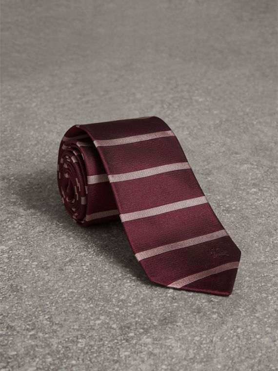 Modern Cut Striped Silk Tie in Garnet Pink
