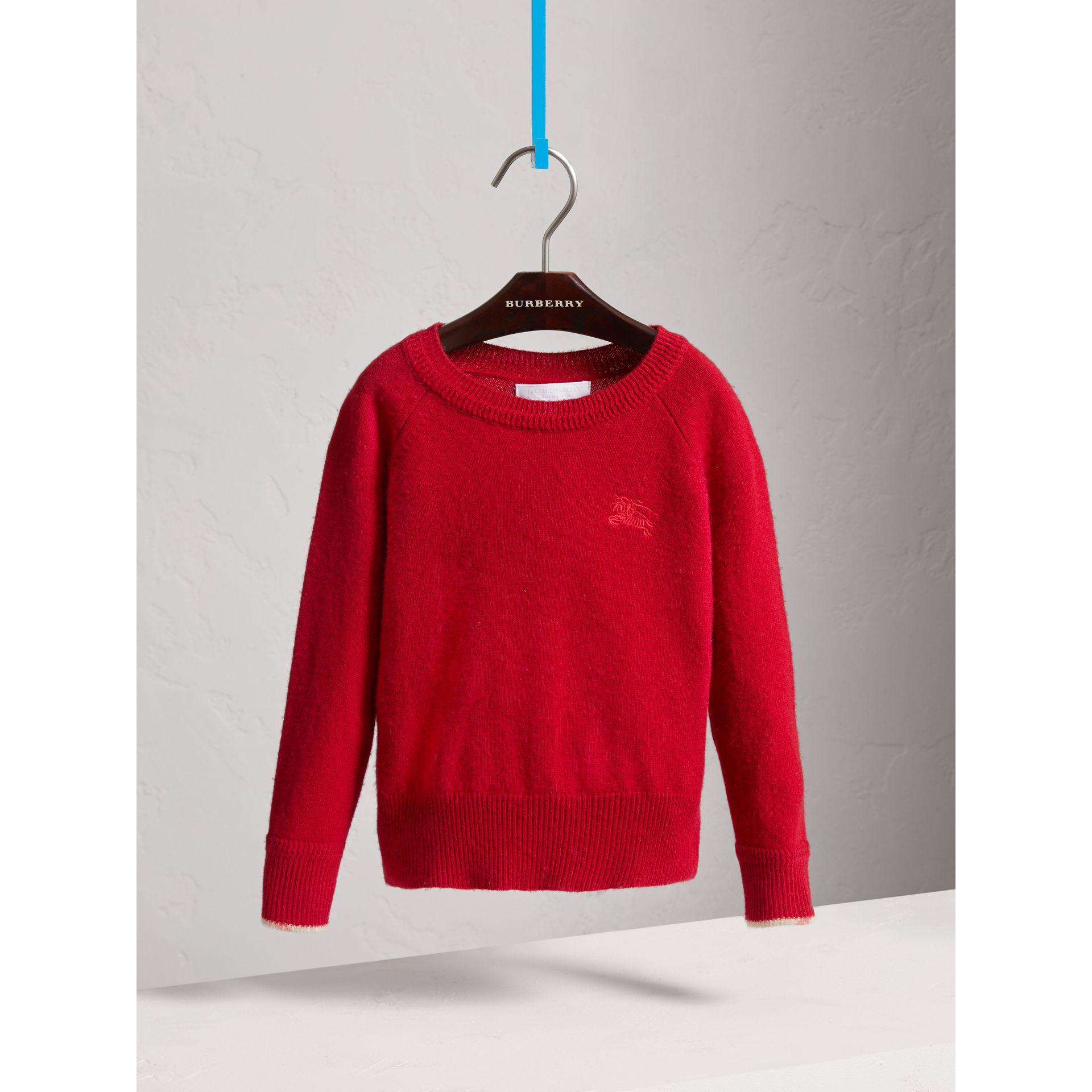 Check Detail Cashmere Sweater in Parade Red - Girl | Burberry Canada - gallery image 0