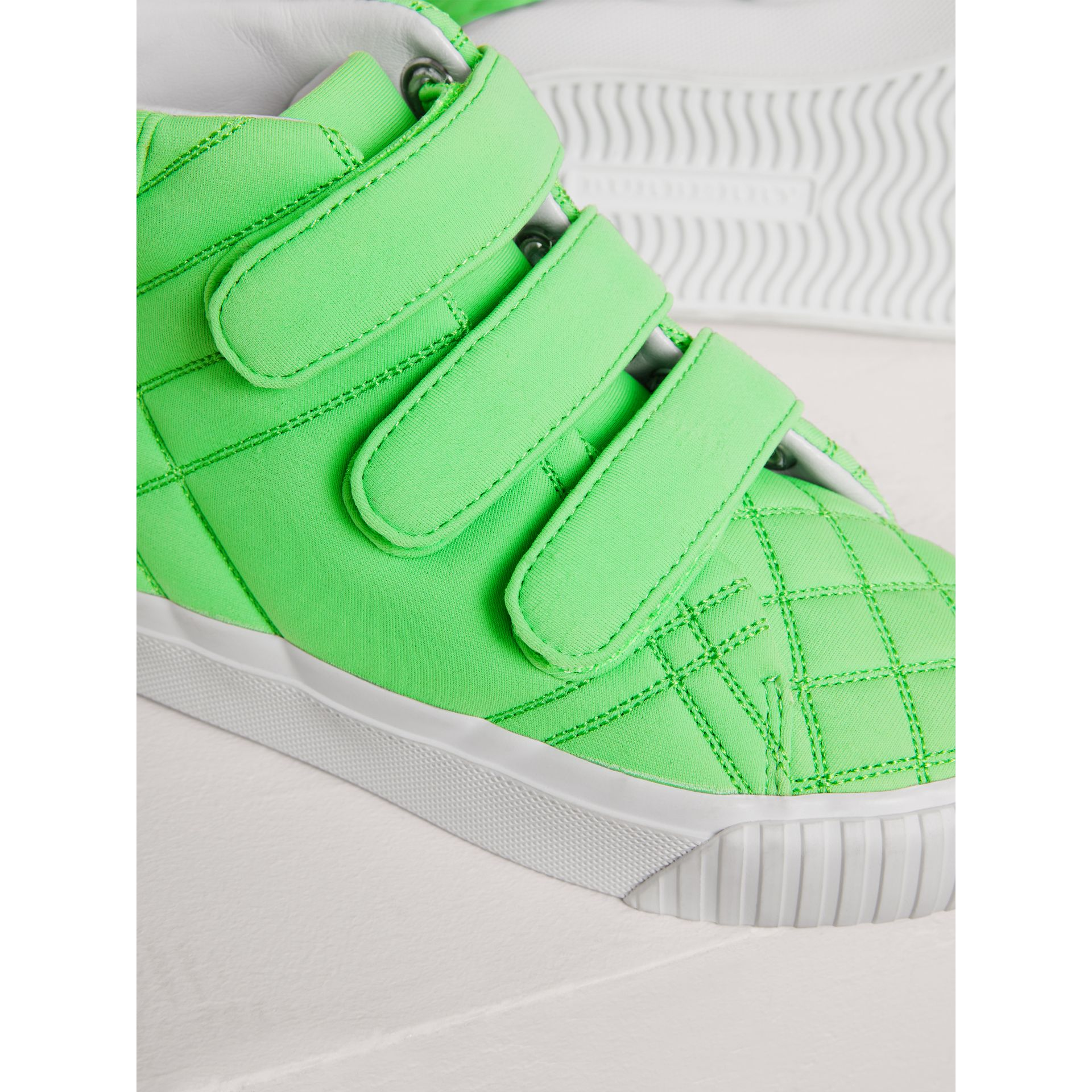 Quilted High-top Trainers in Neon Green | Burberry - gallery image 1