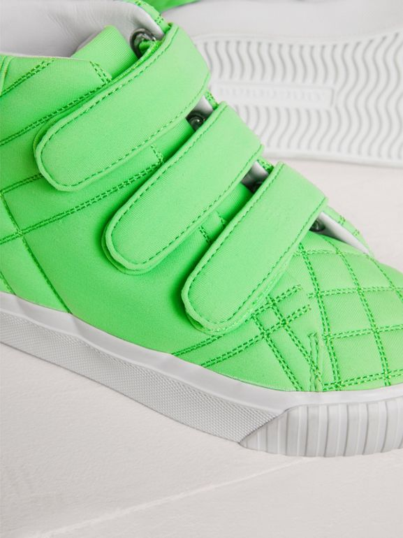 Quilted High-top Sneakers in Neon Green - Children | Burberry - cell image 1