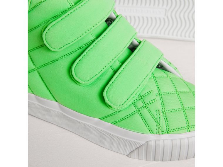 Quilted High-top Trainers in Neon Green | Burberry - cell image 1