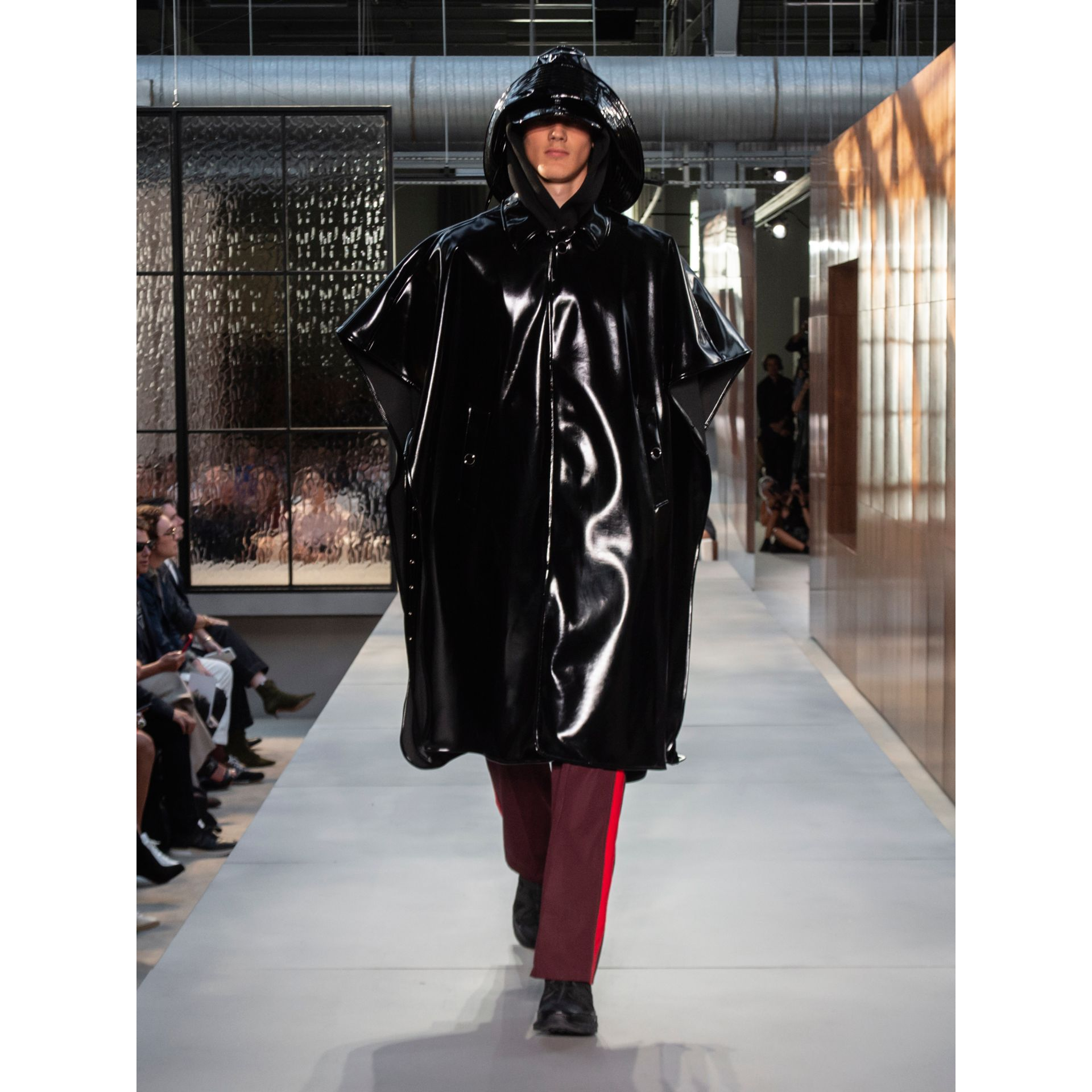 Vinyl Belted Cape in Black | Burberry - gallery image 1