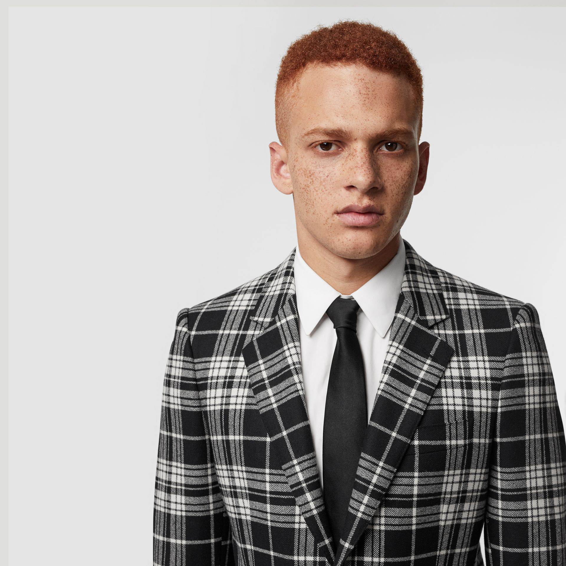 Classic Fit Tartan Wool Cashmere Tailored Jacket in Black - Men | Burberry Canada - gallery image 5