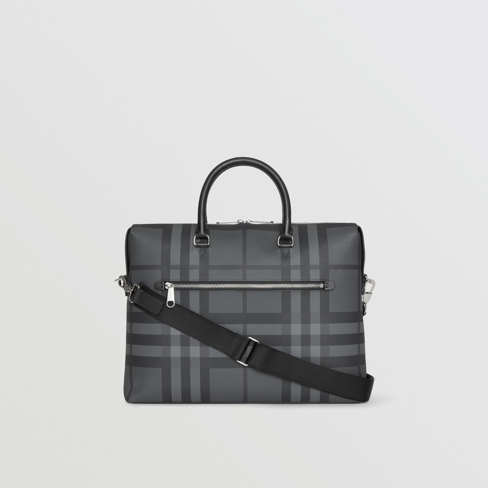 Large London Check Briefcase in Charcoal/black - Men | Burberry Australia - gallery image 7