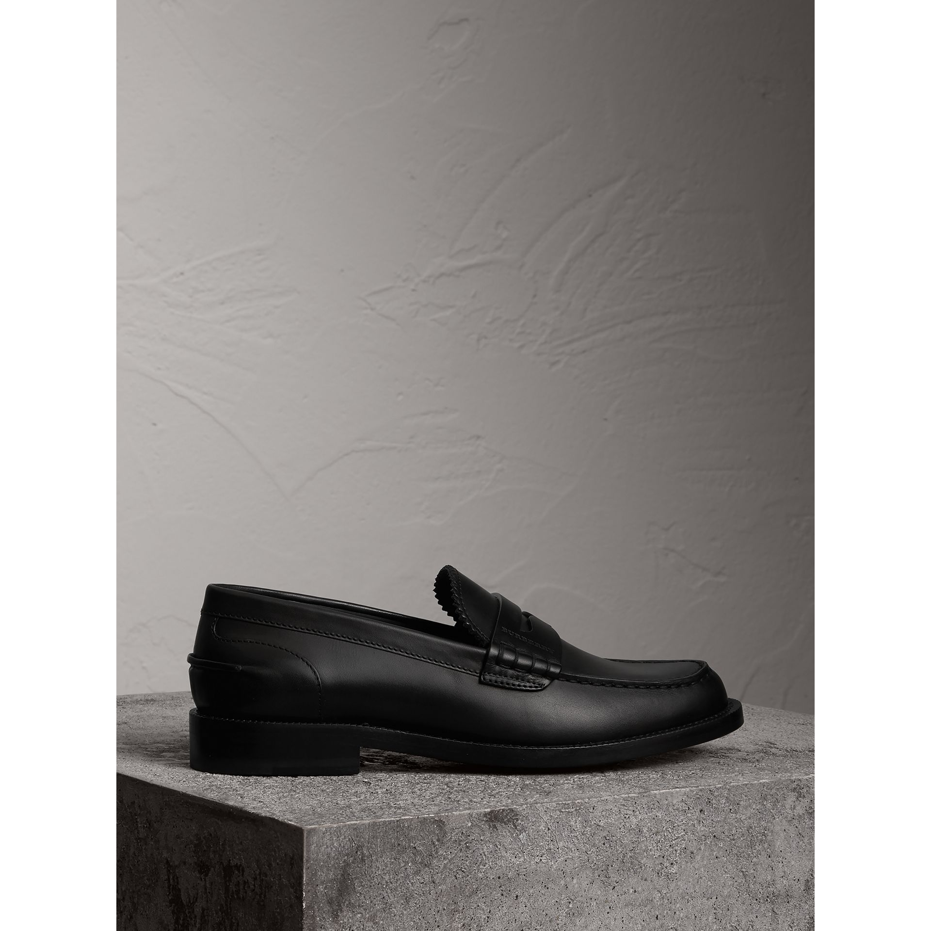 Leather Penny Loafers in Black - Women | Burberry - gallery image 5