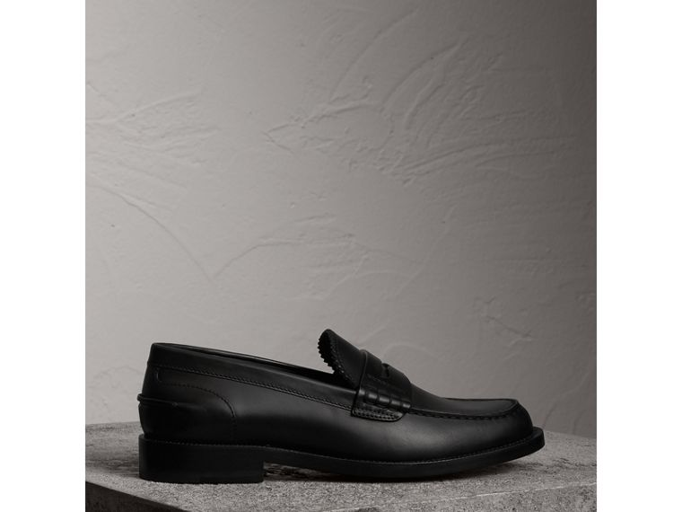 Leather Penny Loafers in Black - Women | Burberry - cell image 4
