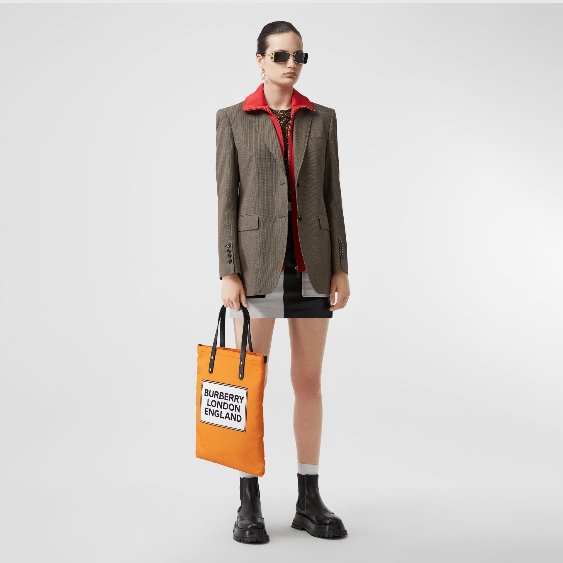 Logo Print Nylon Tote Bag in Orange | Burberry - gallery image 6