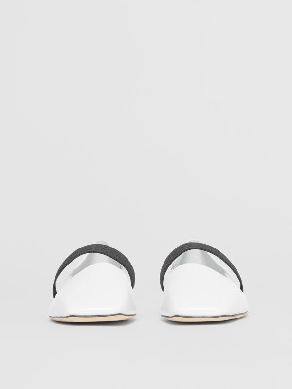 Logo Detail Lambskin Flats in White - Women | Burberry Australia - cell image 3