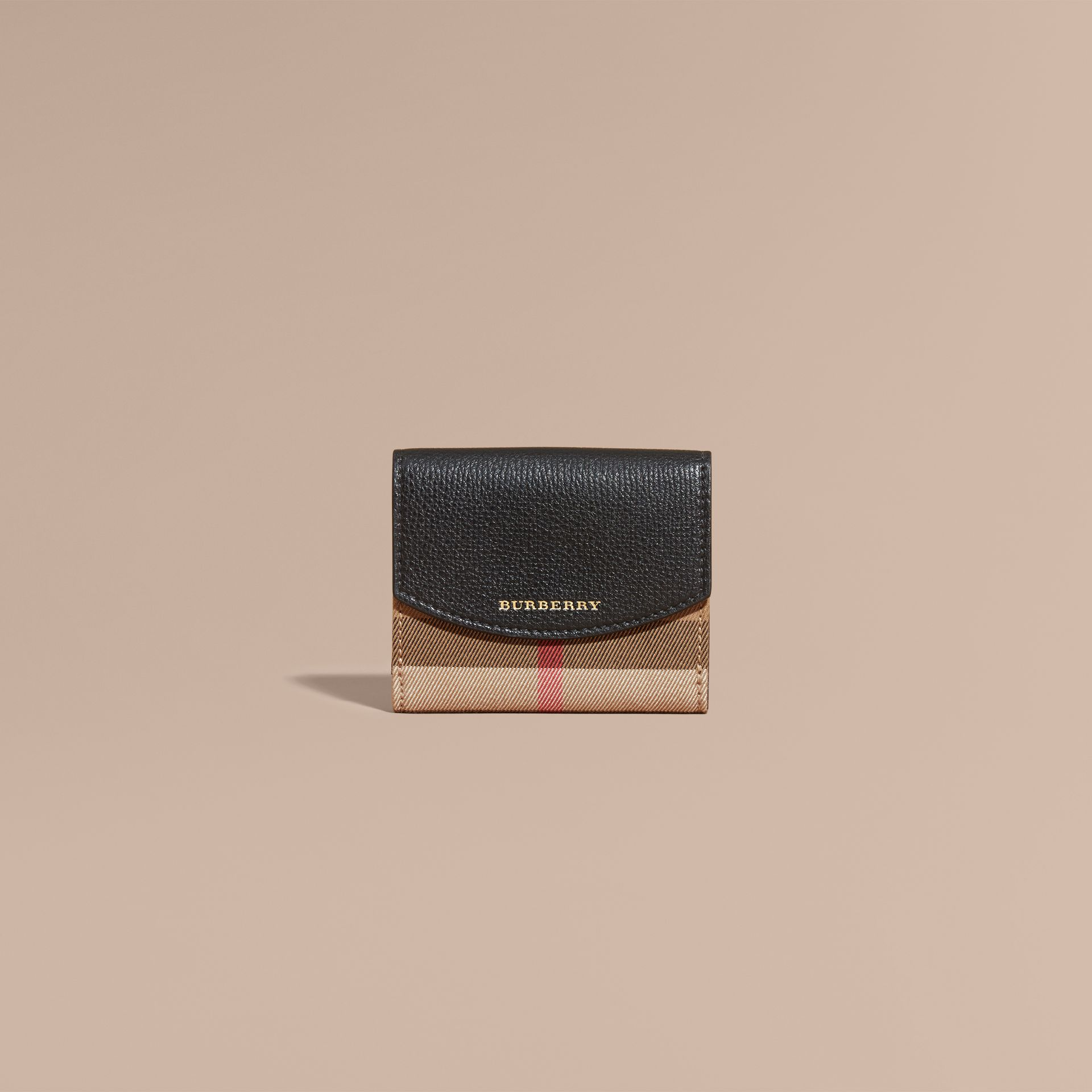 House Check and Leather Wallet in Black - Women | Burberry - gallery image 3