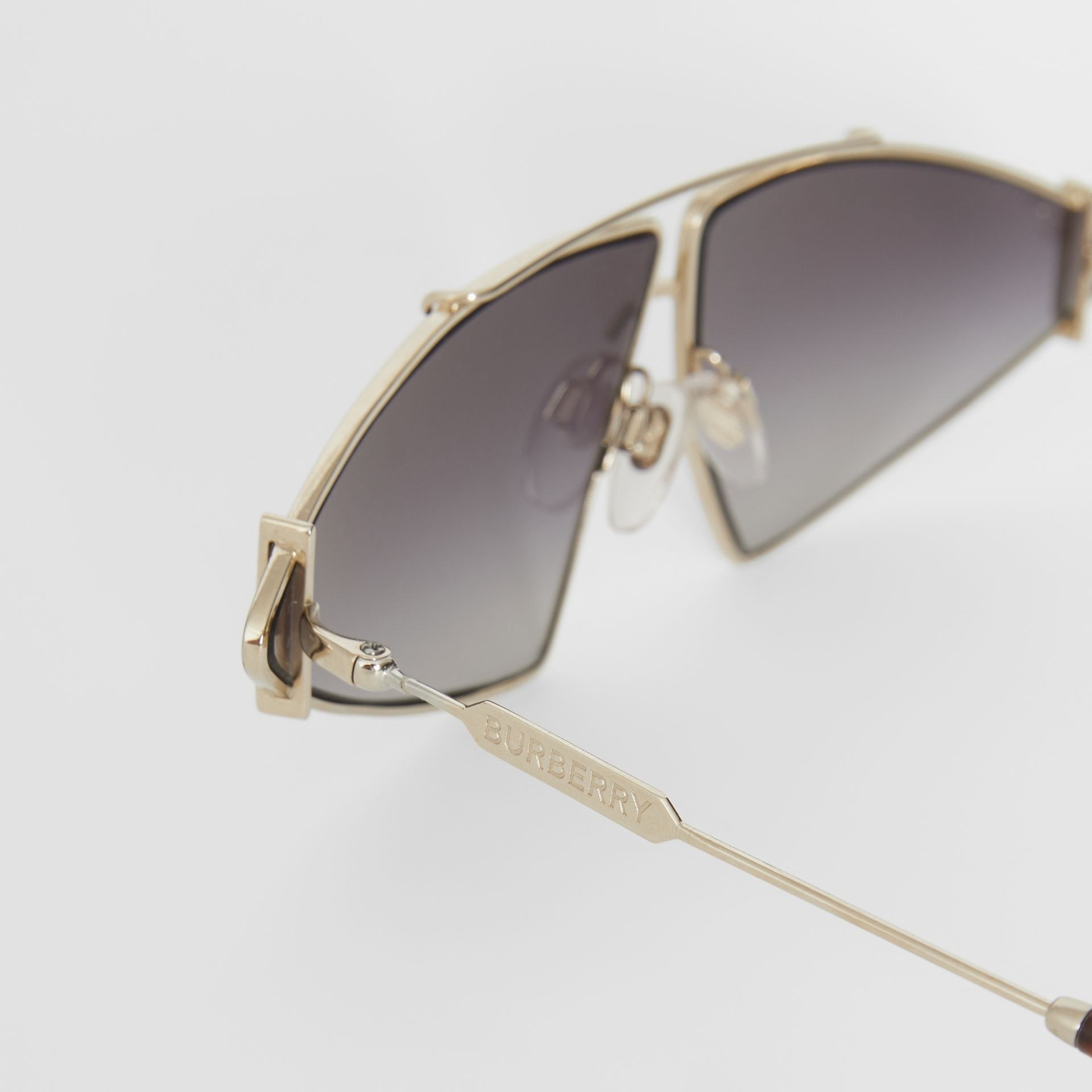 Gold-plated Triangular Frame Sunglasses in Black - Women | Burberry United States - gallery image 5