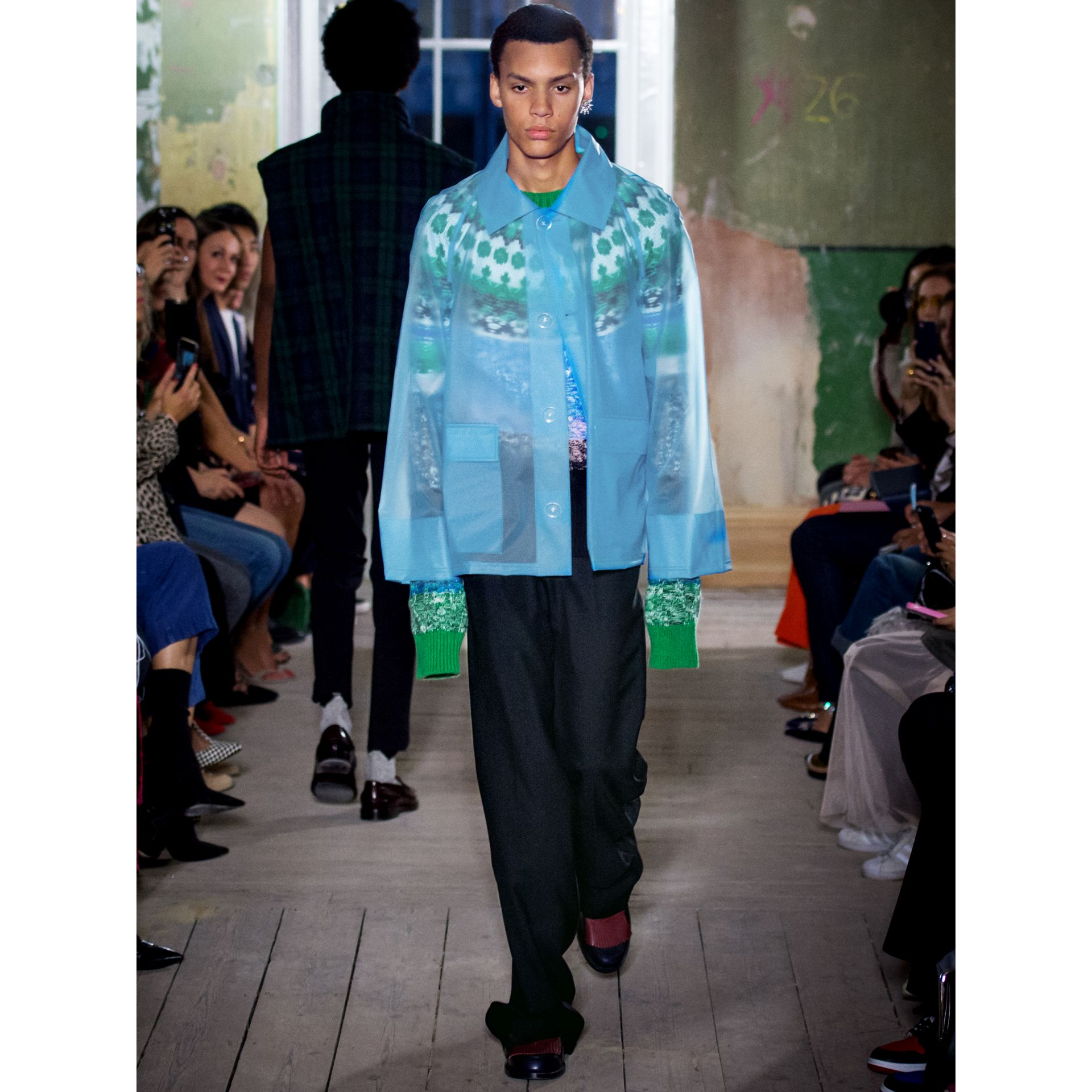 Multi-knit Cashmere Wool Mohair Mouliné Sweater in Bright Turquoise Green - Men | Burberry United Kingdom - gallery image 5