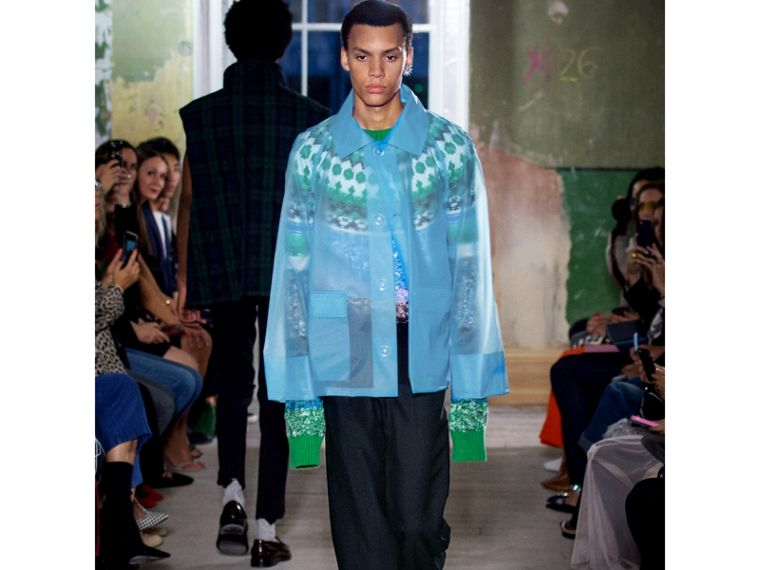 Multi-knit Cashmere Wool Mohair Mouliné Sweater in Bright Turquoise Green - Men   Burberry - cell image 4