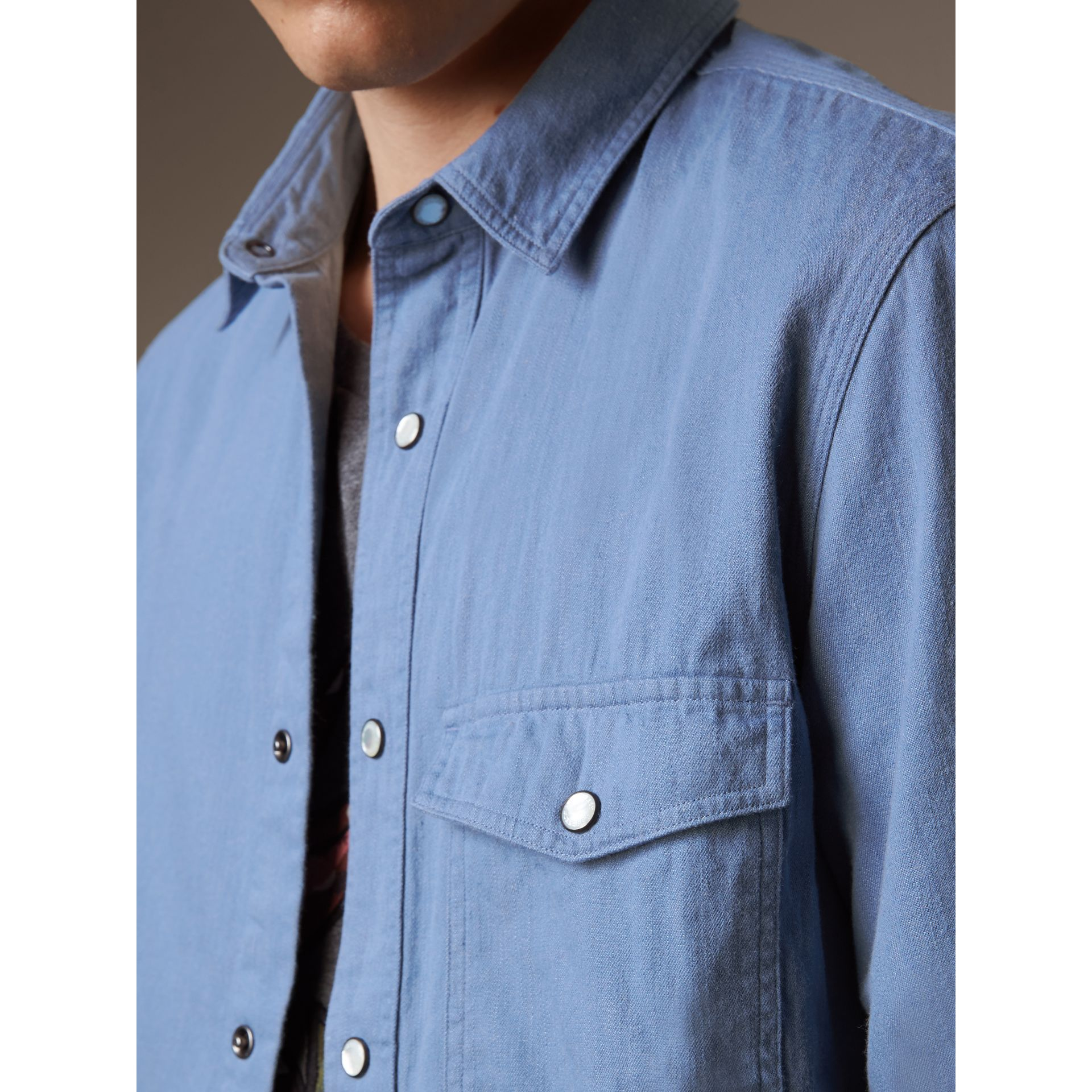 Japanese Denim Shirt - Men | Burberry - gallery image 5